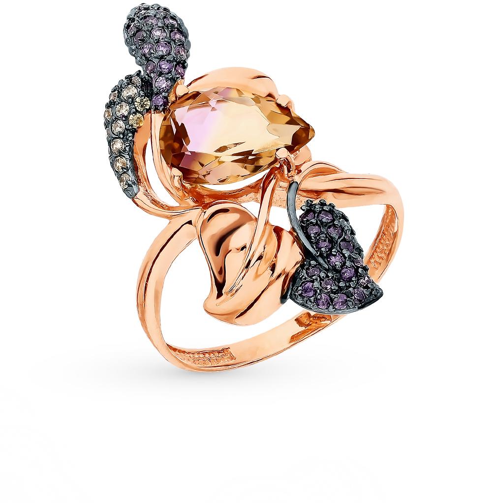 Золотое кольцо с аметрином и фианитами в Санкт-Петербурге