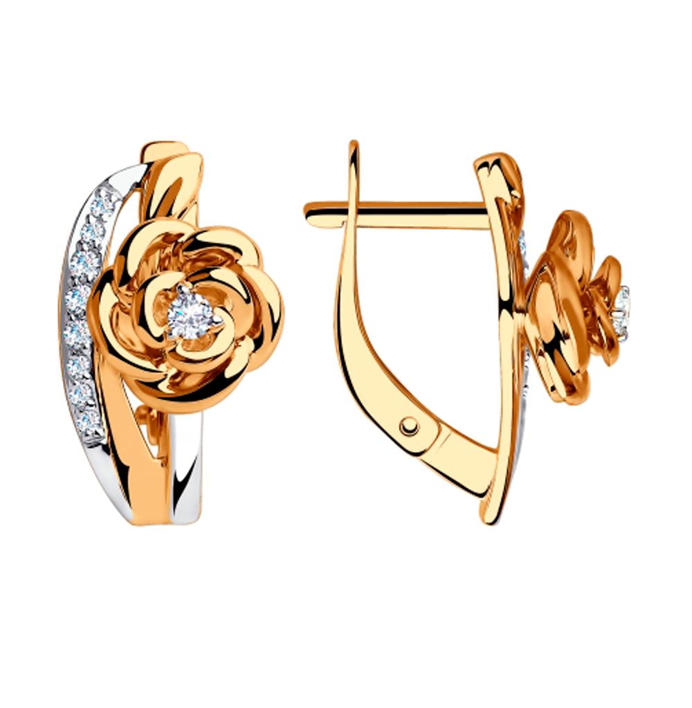 золотые серьги с фианитами SOKOLOV 028283