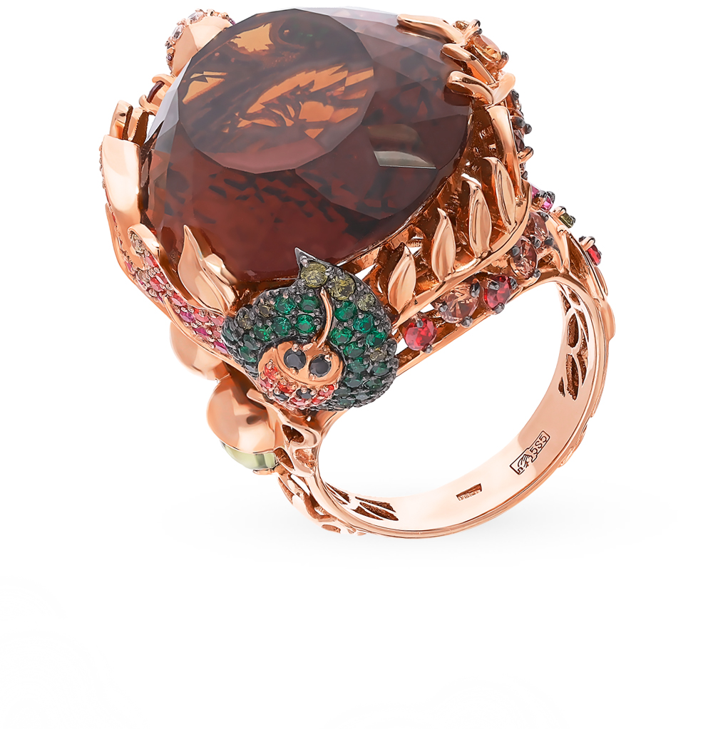 Фото «Золотое кольцо с родолитами, хризолитом, кварцем, фианитами, гранатом и цитринами»