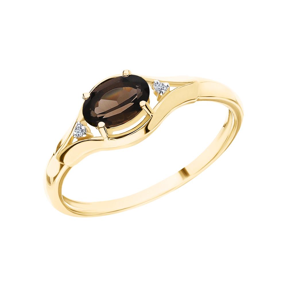 Фото «Золотое кольцо с кварцами дымчатыми и бриллиантами»