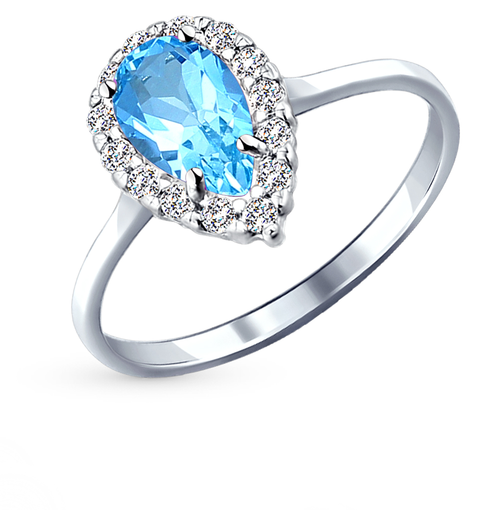 серебряное кольцо с топазами и фианитами SOKOLOV 92011000