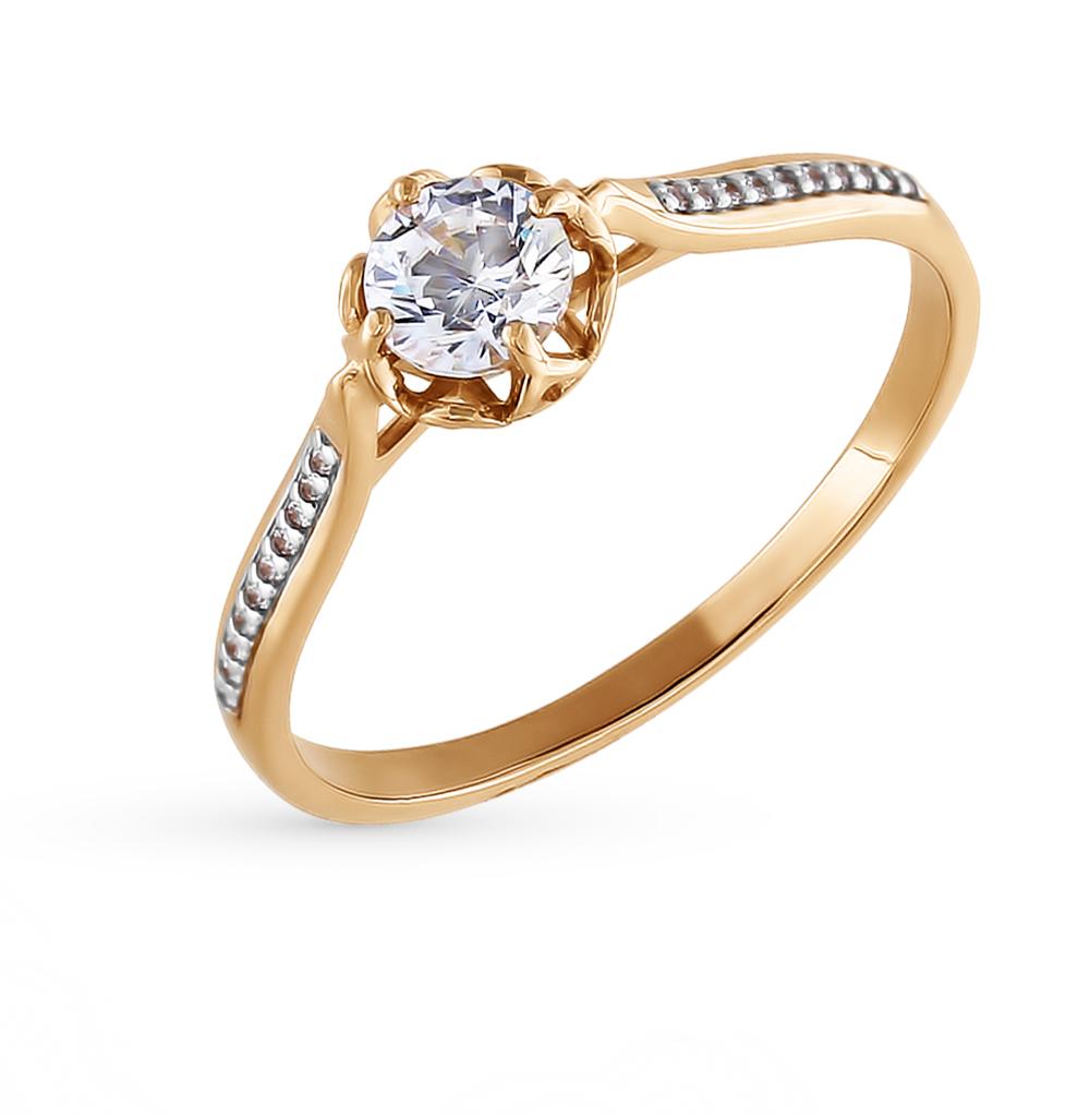 Фото «Золотое кольцо с фианитами и кристаллами swarovski SOKOLOV 81010099*»