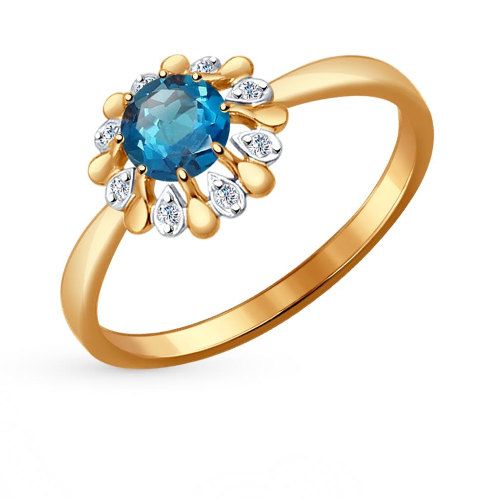 золотое кольцо с топазами и фианитами SOKOLOV 714450*