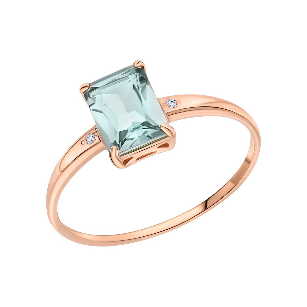 Золотое кольцо с празиолит и бриллиантами в Екатеринбурге