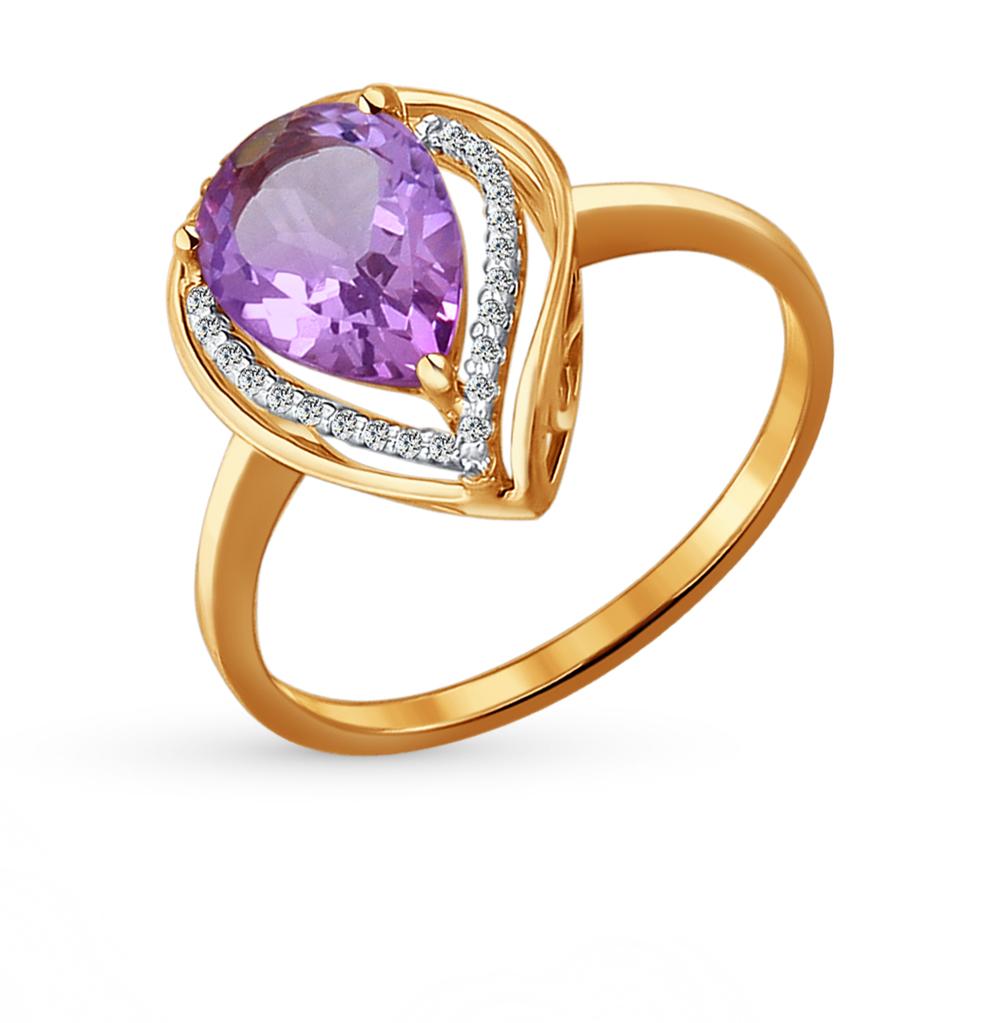 золотое кольцо с аметистом и фианитами SOKOLOV 713930*