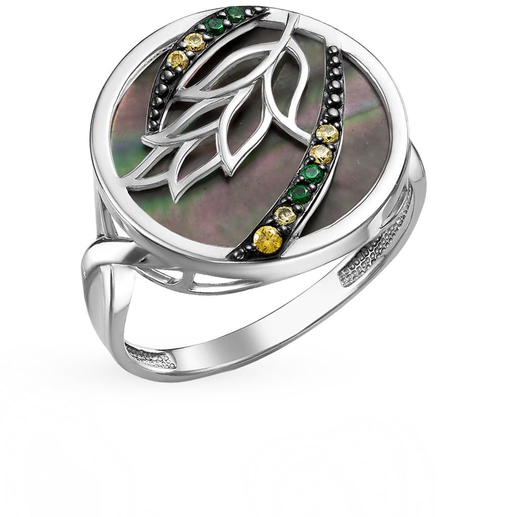 серебряное кольцо с фианитами и перламутром