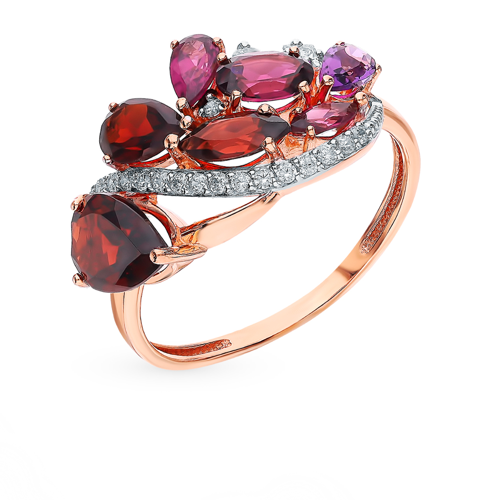 Золотое кольцо с родолитами, аметистом, фианитами и гранатом в Санкт-Петербурге