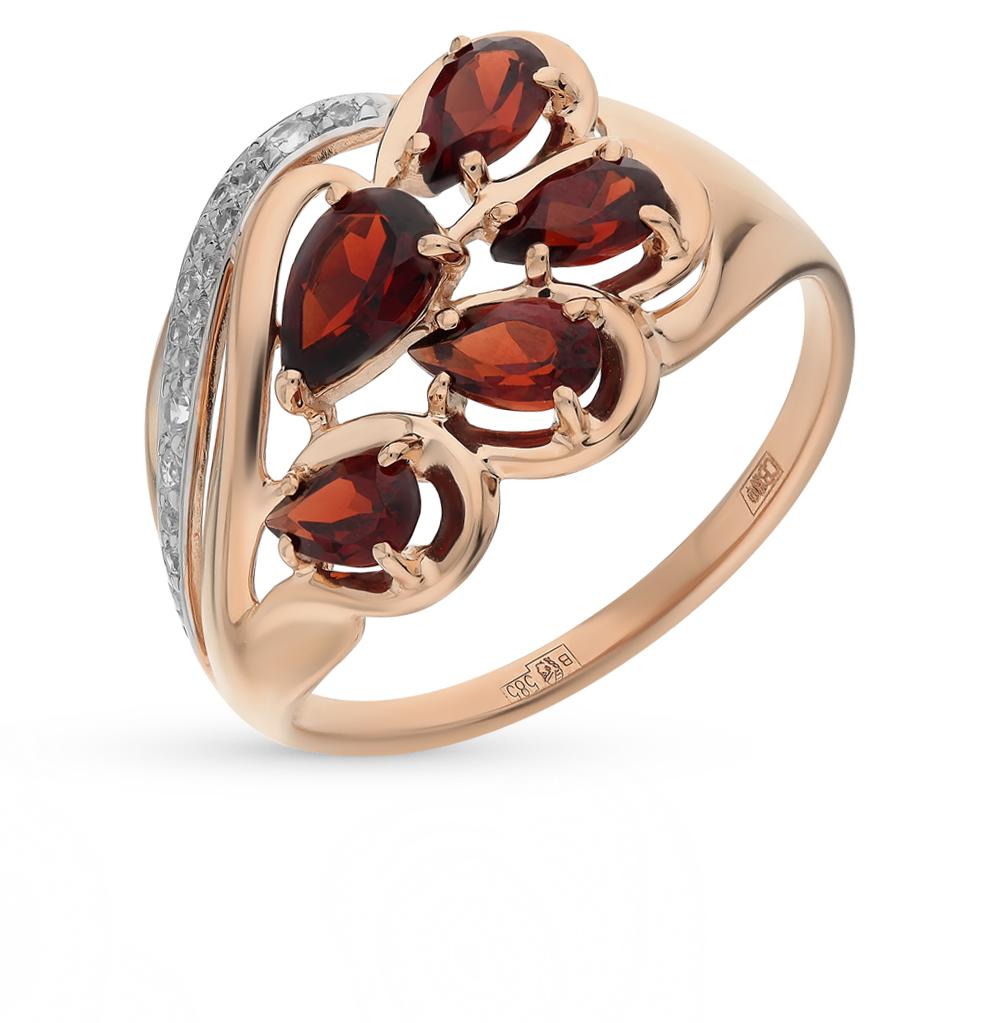 Фото «Золотое кольцо с фианитами и гранатом SOKOLOV 714505*»