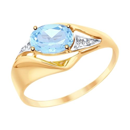 Фото «Золотое кольцо с топазами и фианитами SOKOLOV 715265*»