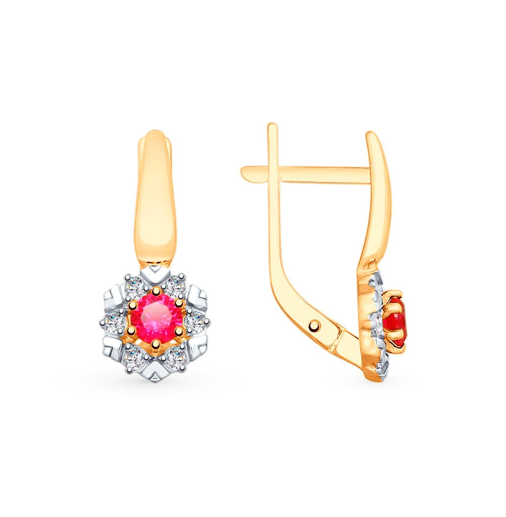 Фото «Золотые серьги с рубинами, корундом и фианитами SOKOLOV 725776*»