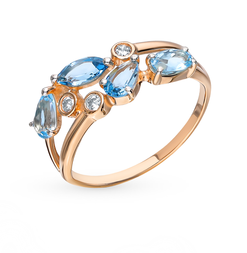 Золотое кольцо с топазами и фианитами SOKOLOV 715178* в Екатеринбурге
