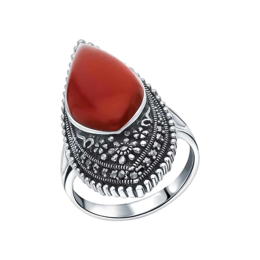 Фото «Серебряное кольцо с марказитами и сердоликом»