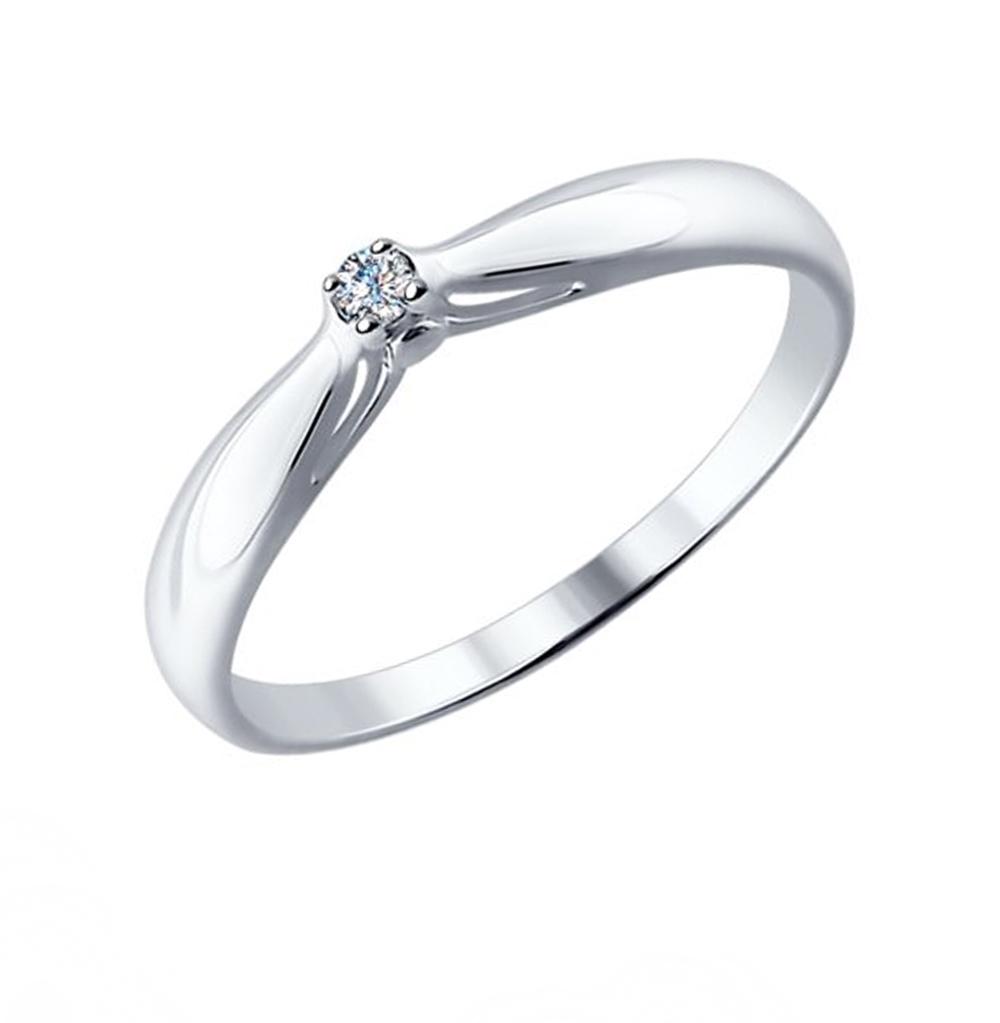 серебряное кольцо с бриллиантами SOKOLOV 87010002