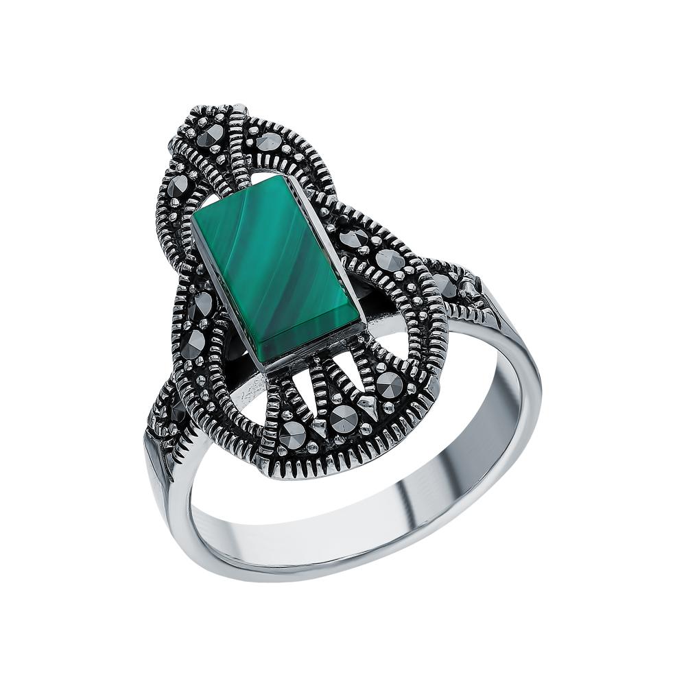 Серебряное кольцо с малахитом и марказитами swarovski в Санкт-Петербурге