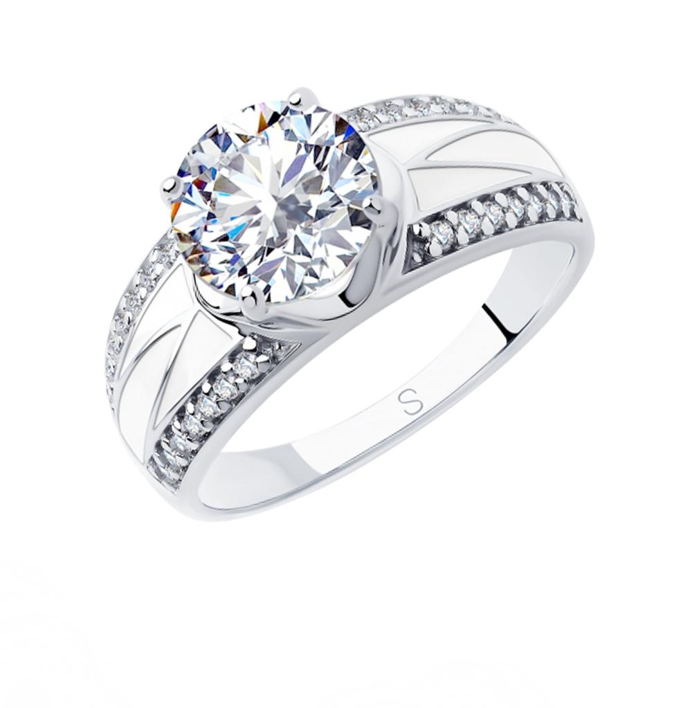 Фото «Серебряное кольцо с фианитами и эмалью SOKOLOV 94012928»