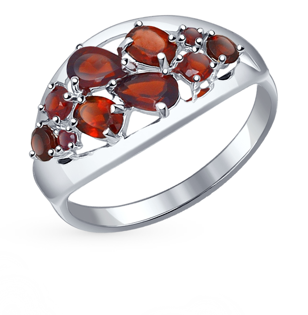 серебряное кольцо с гранатом SOKOLOV 92011098