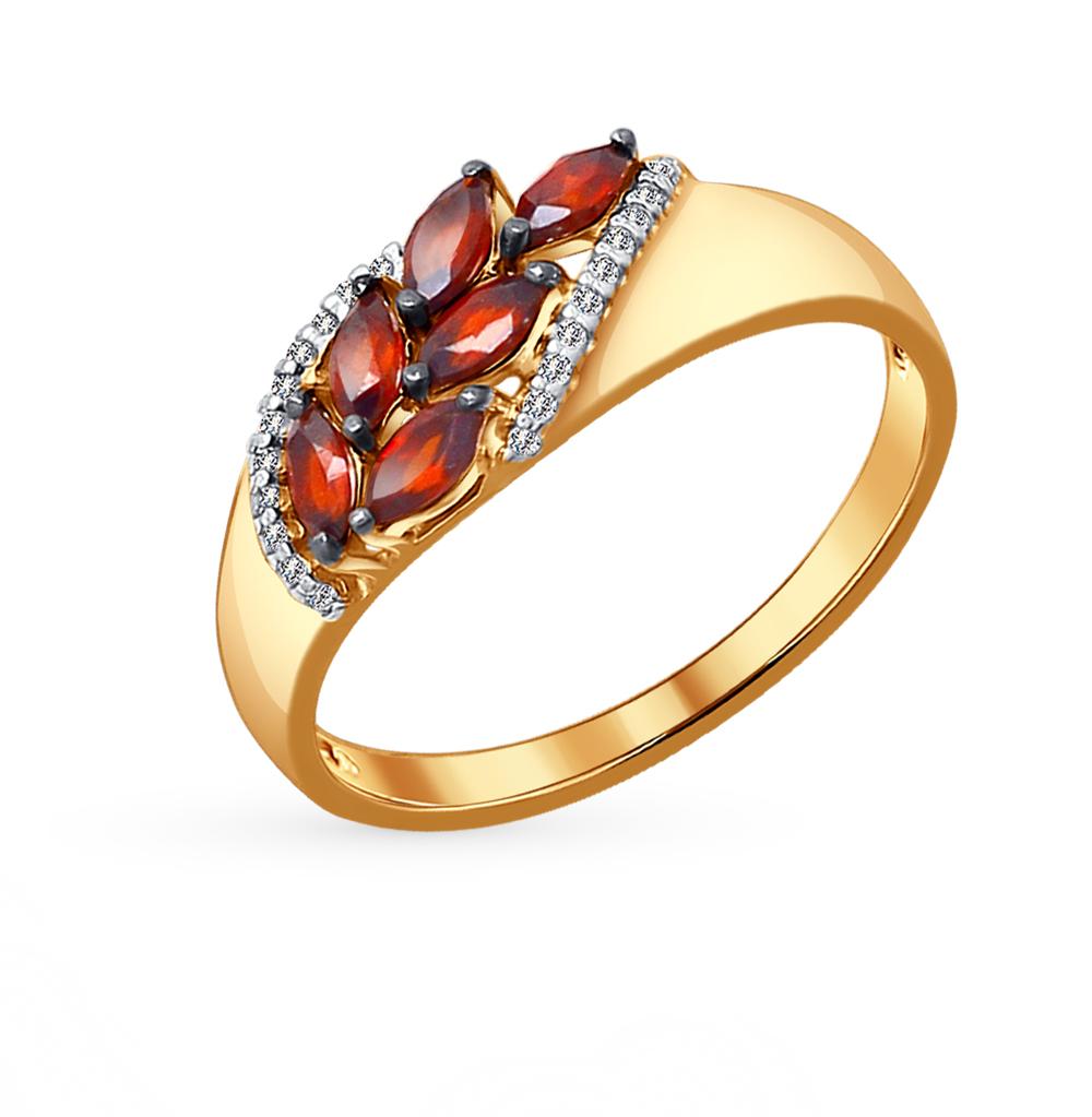 золотое кольцо с фианитами и гранатом SOKOLOV 714048*