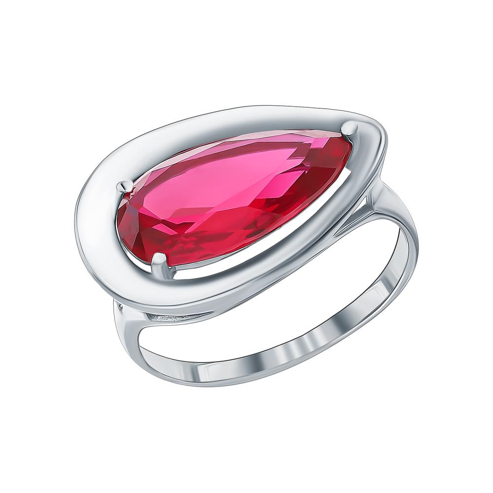 Серебряное кольцо с фианитами и рубинами синтетическими в Санкт-Петербурге