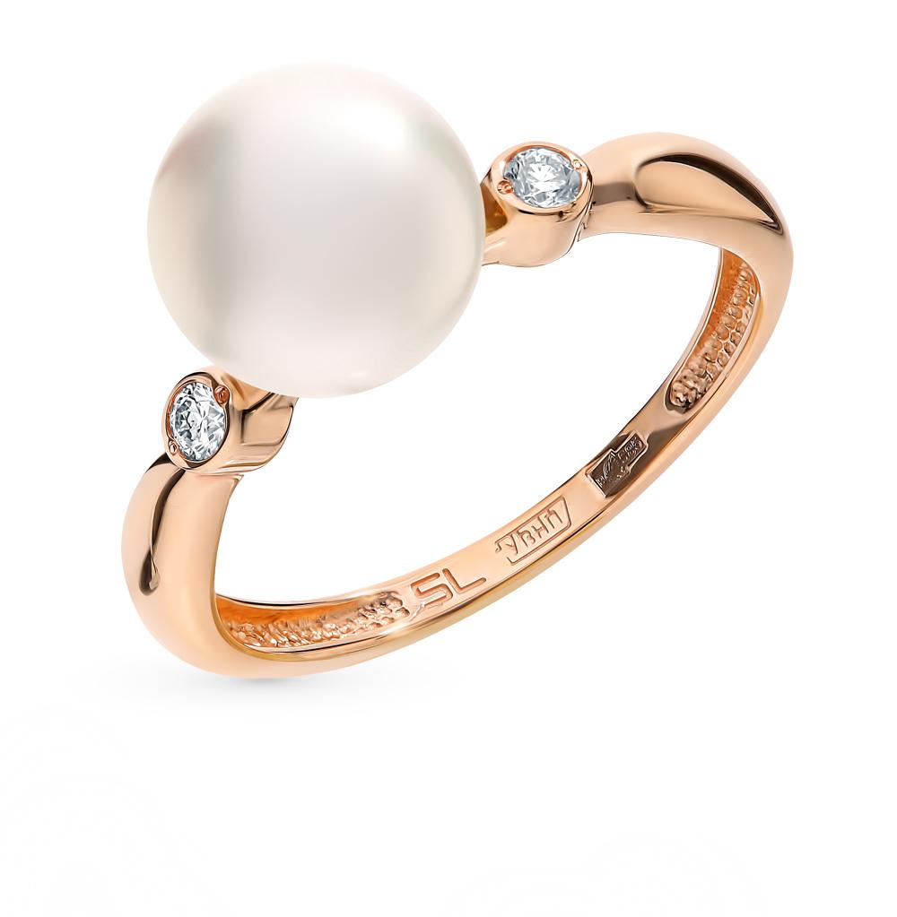 золотое кольцо с жемчугами культивированными и бриллиантами