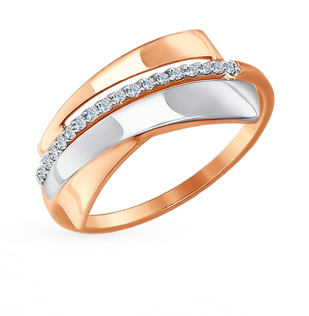 золотое кольцо с фианитами SOKOLOV 017312