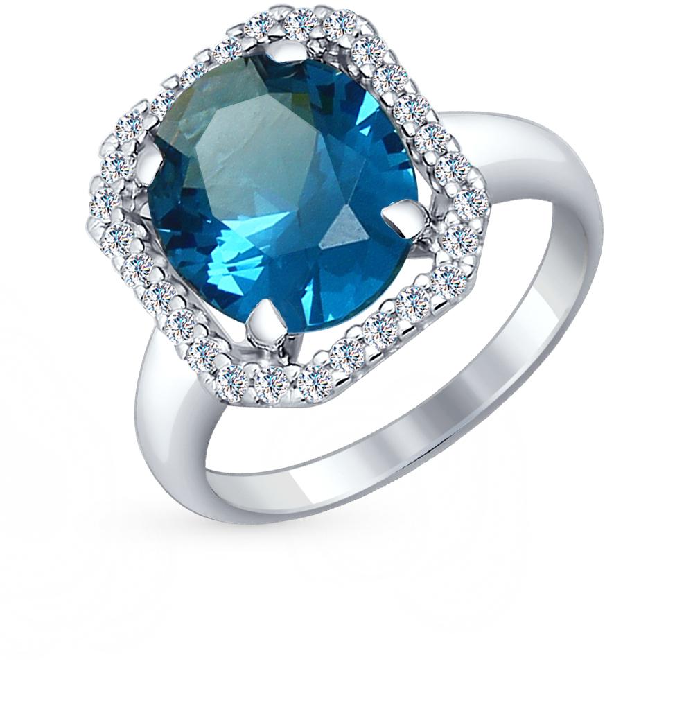 Серебряное кольцо с наноситалами и фианитами от SUNLIGHT