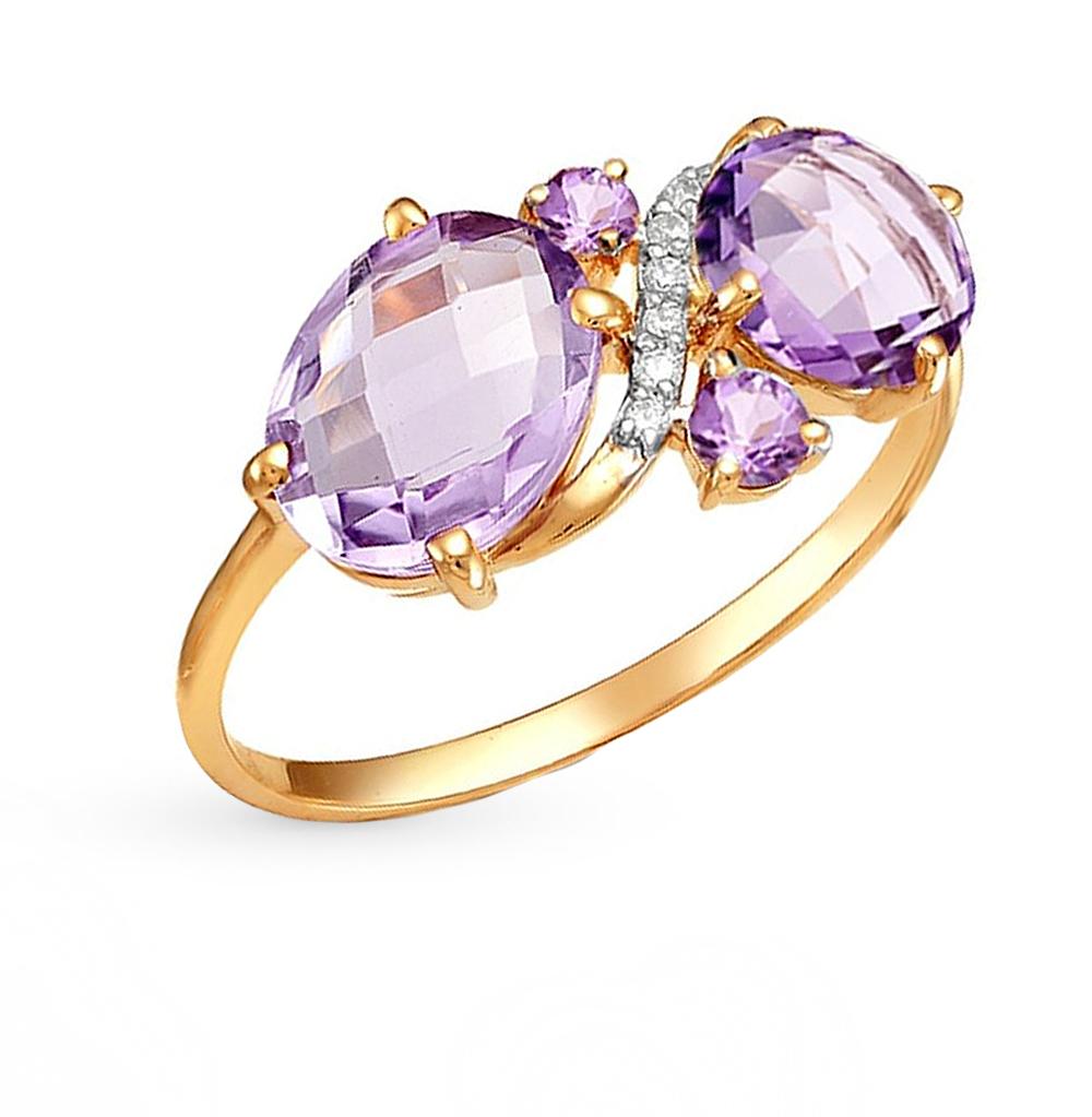 Фото «золотое кольцо с аметистом, гранатом и фианитами»