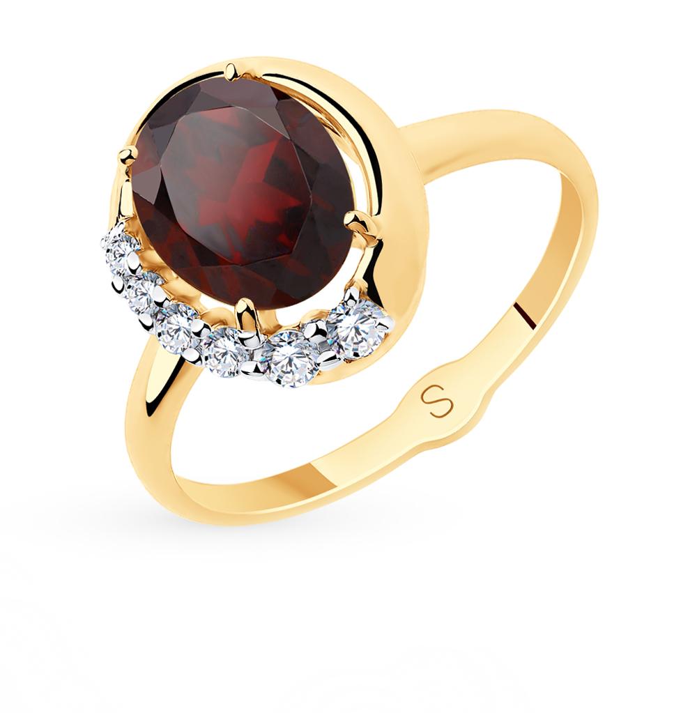 золотое кольцо с фианитами и гранатом SOKOLOV 715654*