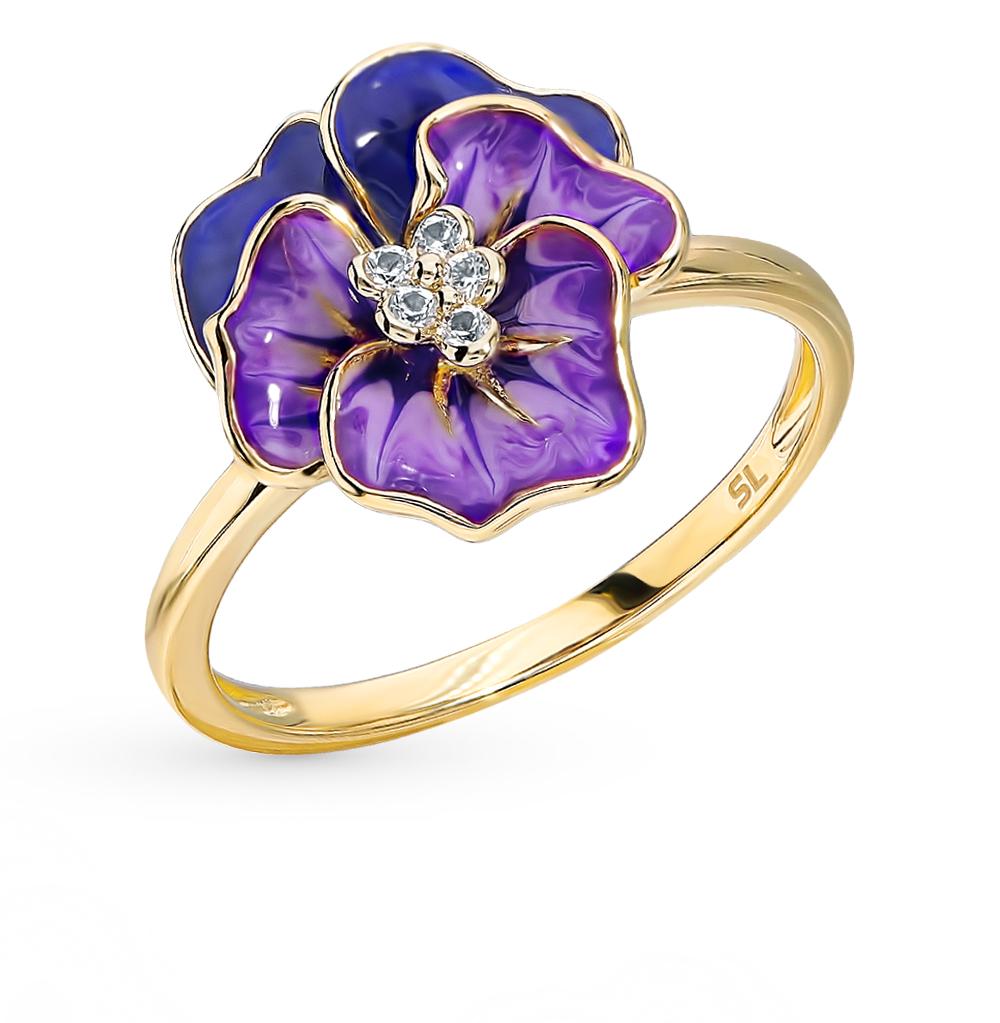 Золотое кольцо с сапфирами и эмалью в Екатеринбурге