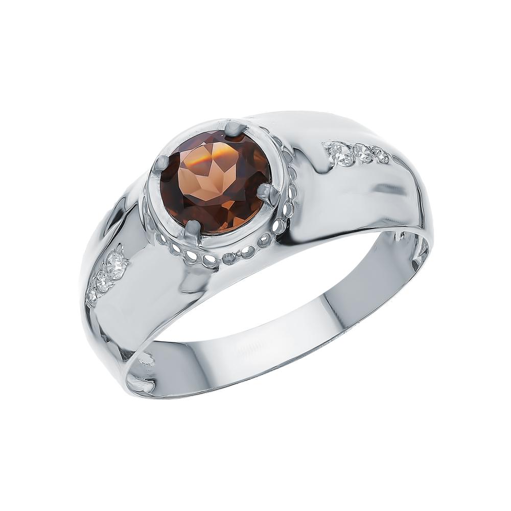 Серебряное кольцо с фианитами и кварцами дымчатыми в Екатеринбурге