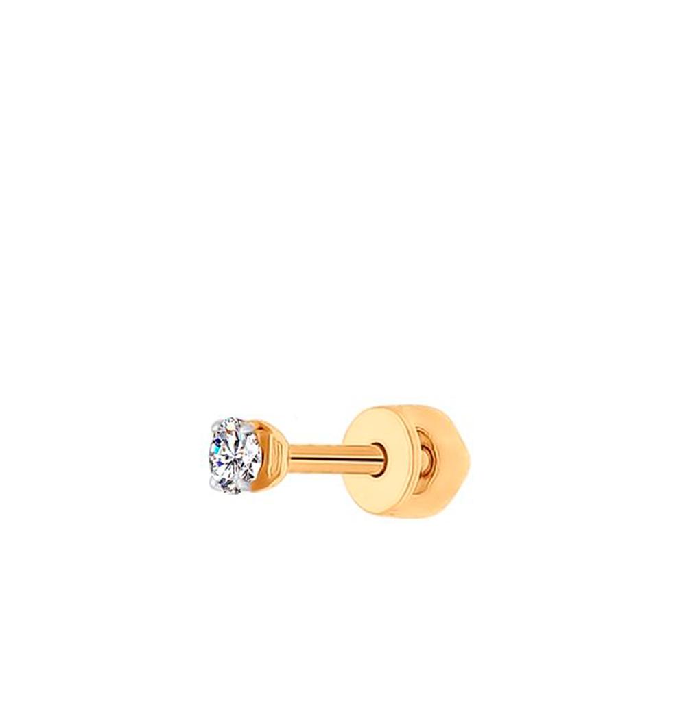 золотая серьга с фианитами SOKOLOV 170022*