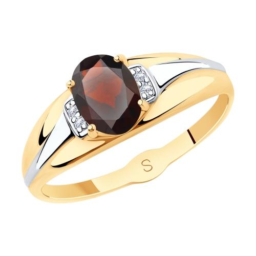 Фото «Золотое кольцо с фианитами и гранатом SOKOLOV 715617»
