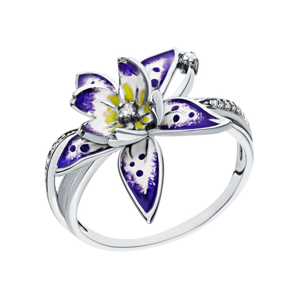 Серебряное кольцо с эмалью и кубическими циркониями в Екатеринбурге