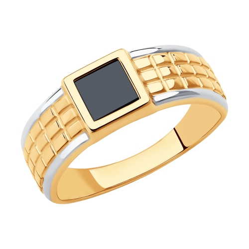 Фото «Золотое кольцо с ониксом SOKOLOV 018369»