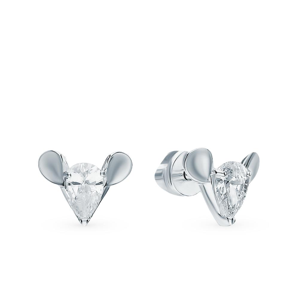 серебряные серьги с фианитами SOKOLOV 94023881