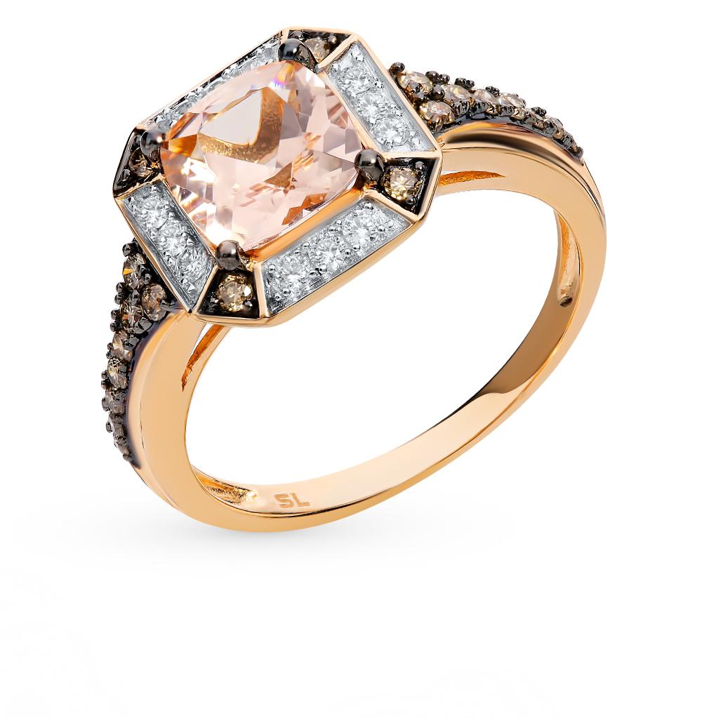 Золотое кольцо с коньячными бриллиантами и морганитами
