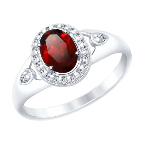 Фото «Серебряное кольцо с фианитами и гранатом SOKOLOV 92011546»