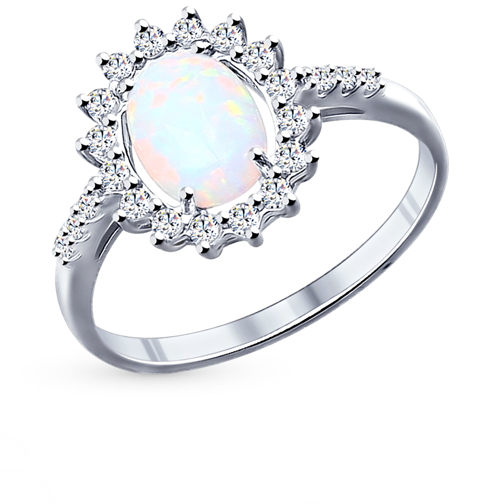 Фото «Серебряное кольцо с фианитами и опалами SOKOLOV 94011765»
