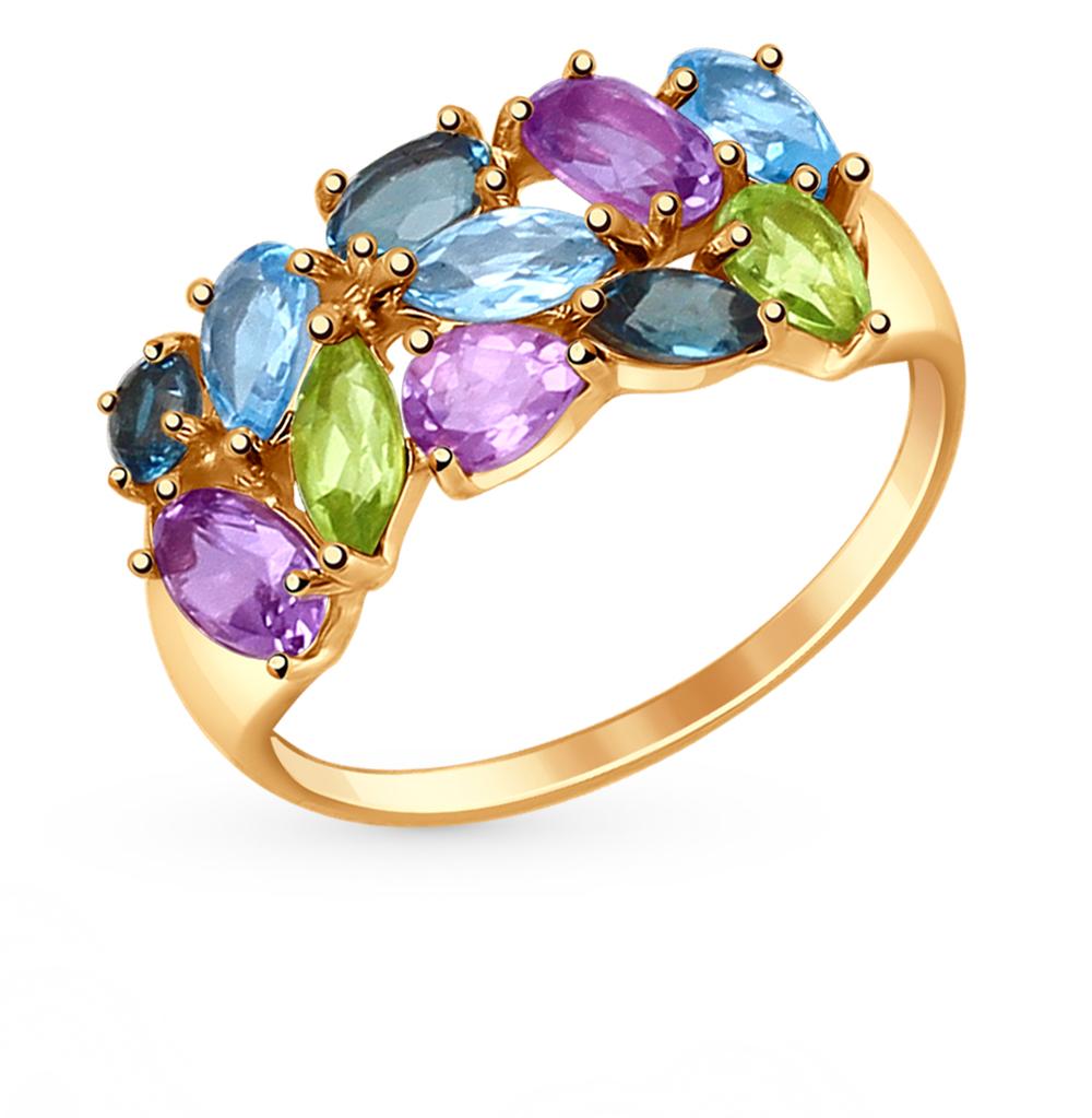 золотое кольцо с аметистом, топазами и цитринами SOKOLOV 714682*