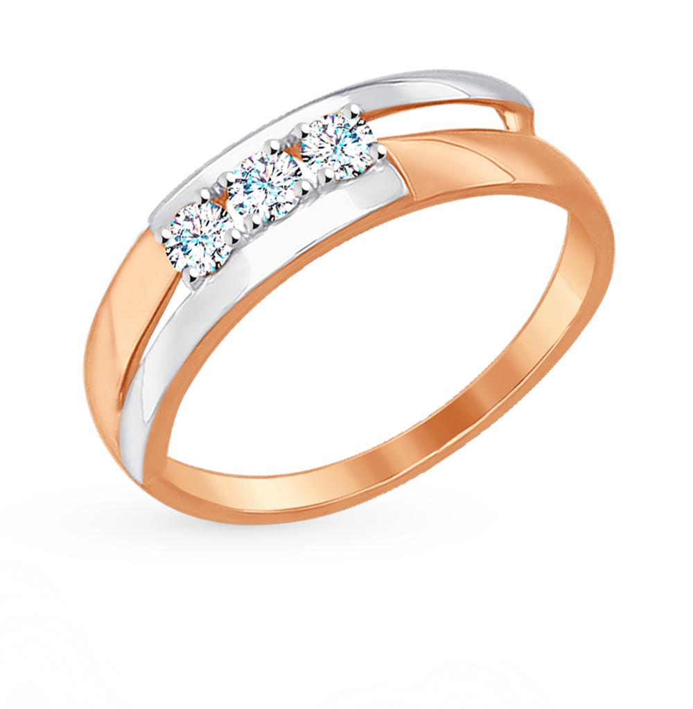 золотое кольцо с фианитами SOKOLOV 017224*