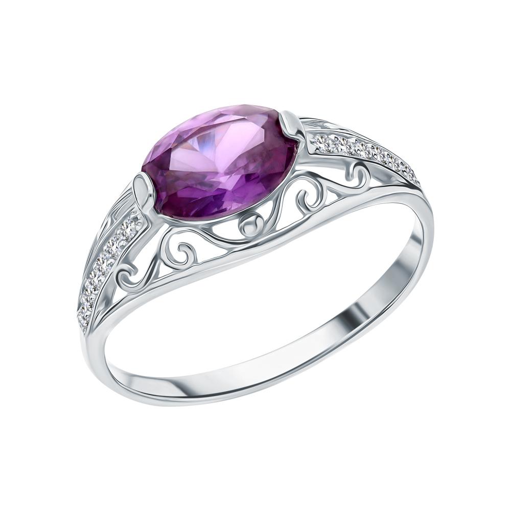 Серебряное кольцо с александритом и фианитами в Екатеринбурге