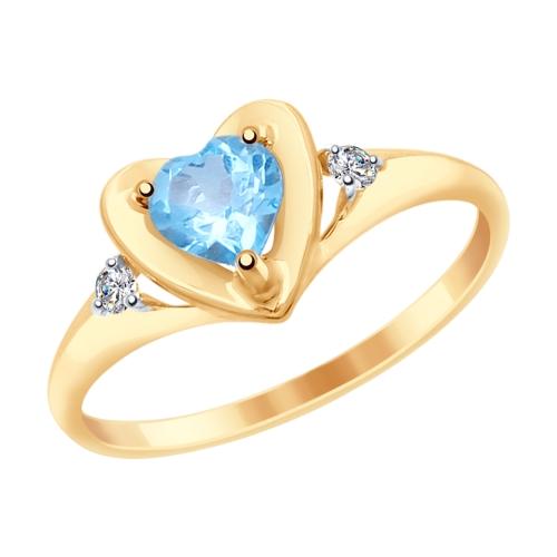 Золотое кольцо с топазами и фианитами SOKOLOV 715042* в Санкт-Петербурге
