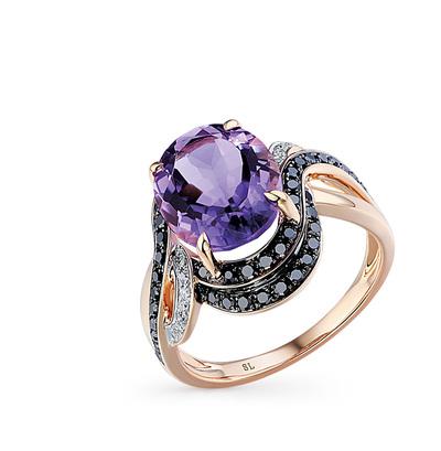 Фото «золотое кольцо с чёрными бриллиантами, аметистом и бриллиантами»