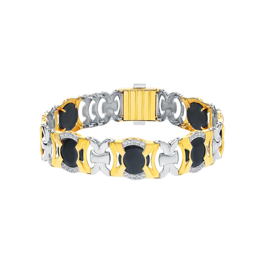 Фото «Серебряный браслет с ониксом и кубическими циркониями»
