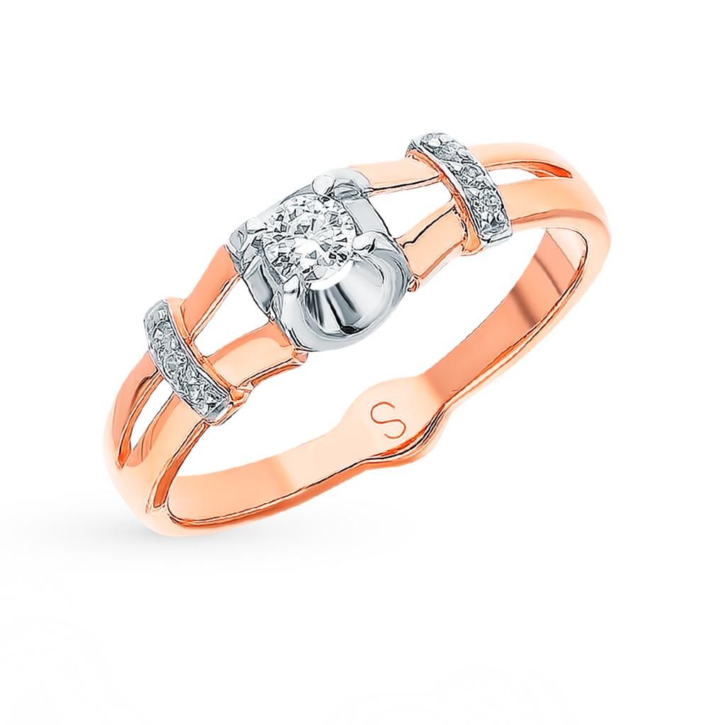 золотое кольцо с фианитами SOKOLOV 018298*