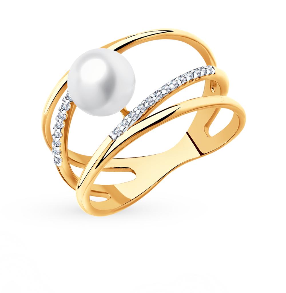 Фото «Золотое кольцо с фианитами и жемчугом SOKOLOV 791106*»
