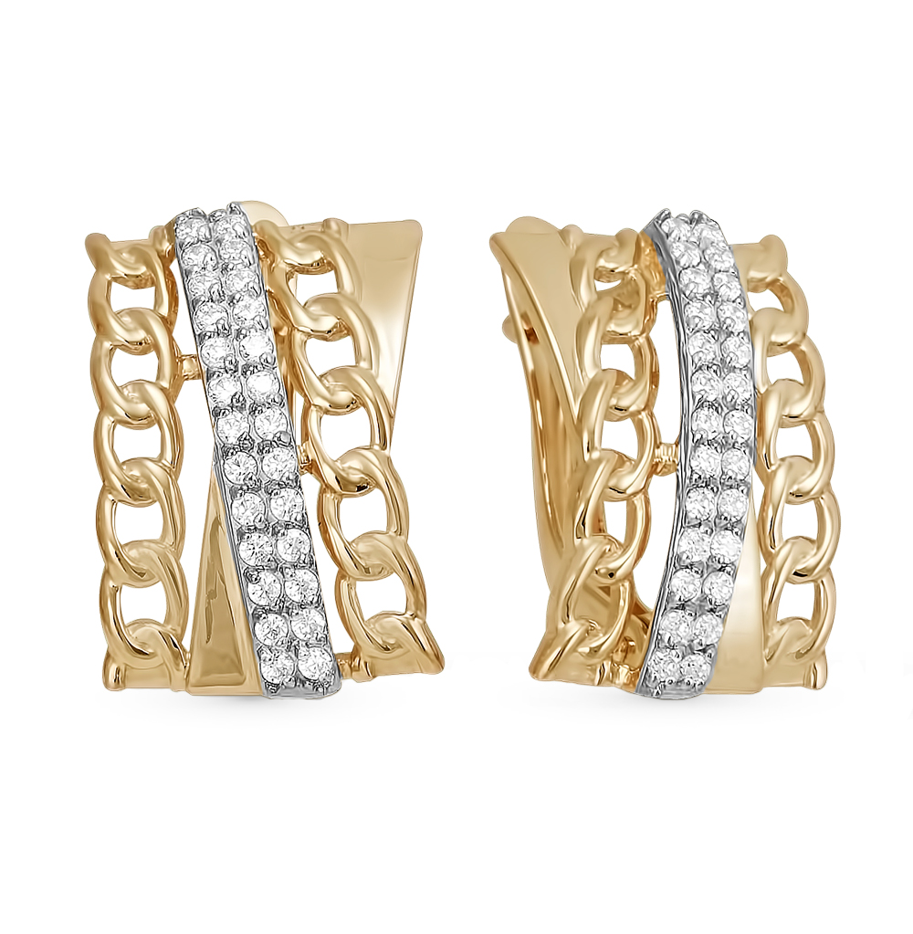 Фото «золотые серьги с фианитами»