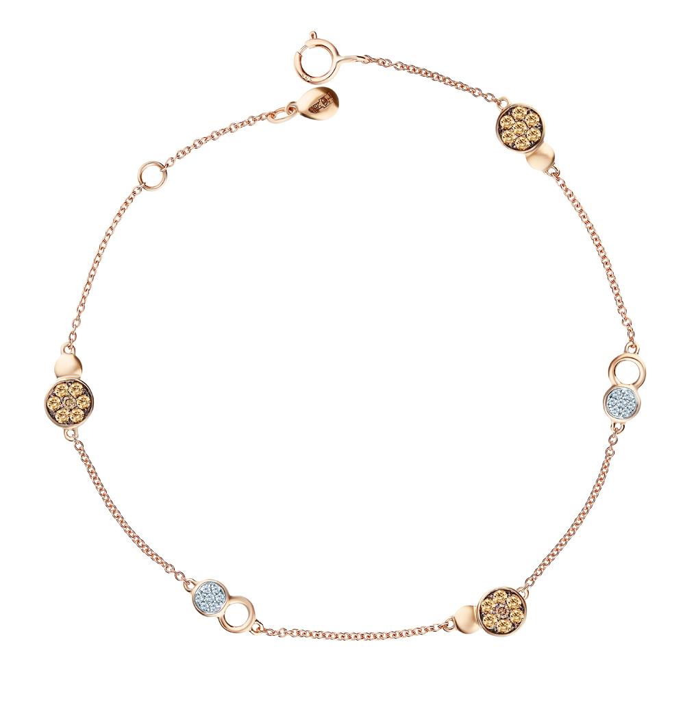 Золотой браслет с коньячными бриллиантами