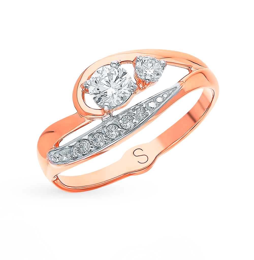 золотое кольцо с фианитами SOKOLOV 018305*