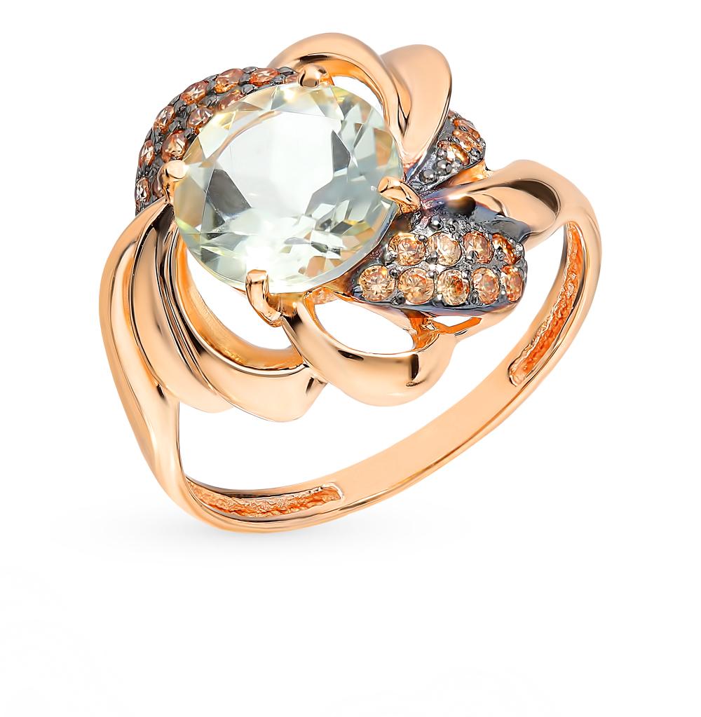 золотое кольцо с фианитами и празиолитами