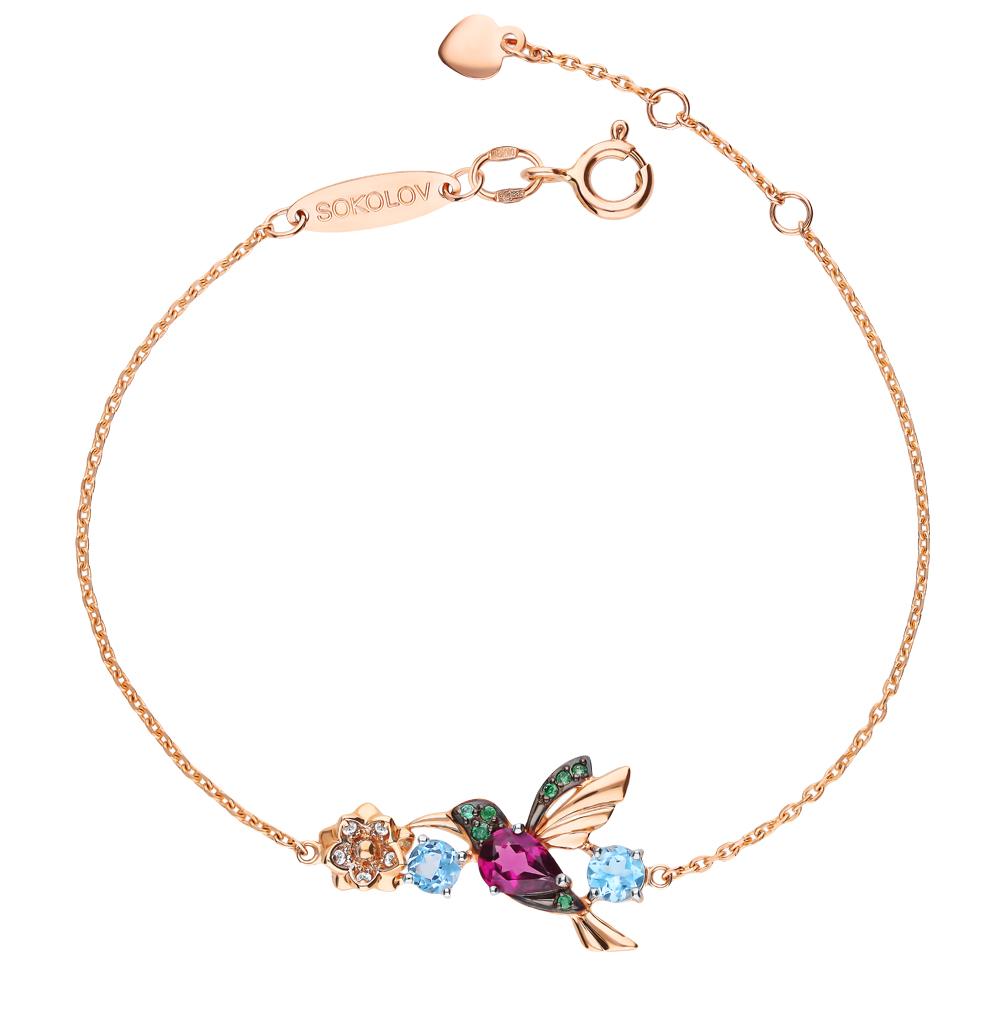золотой браслет с родолитами, топазами и фианитами SOKOLOV 750284*